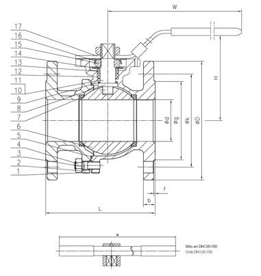 BALL VALVE 2 PIECE DIN FLANGES FULL BORE